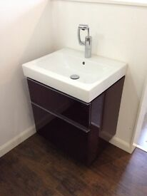 Twyfords 2 drawer unit inc basin and tap