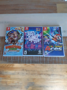 Nintendo Switch games - Donkey Kong, Tennis, Just dance '18