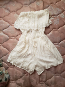 Stretchy shein White Tube top lace romper
