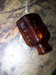 Antique Amber Glass POISON Bottle with Warnings