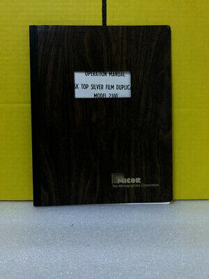 Micor Sk Top Silver Film Duplicate Model 2100 Operation Manual