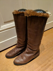 Vintage leather boots with real fur - Size 4.5 (EU 35)