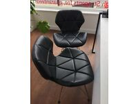 4 x black faux leather chairs