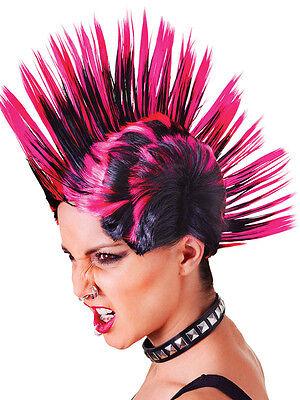 Punk Rock Mohican Wig Female Pink Black Fancy Dress Accessory 1980s 80s - 1980's Punk Rock Kostüm