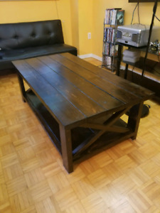 Handmade Pine Coffee Table W/ Dark Brown Stain (Barn Style)