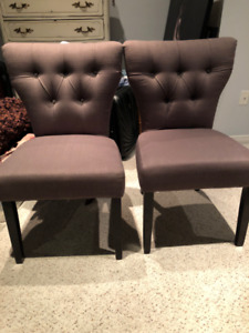 SET OF 2 - GREY, TUFTED, CUSHIONED DINING CHAIRS