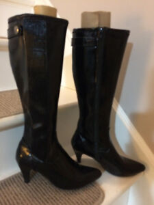 Ladies black patent leather boots by Naturalizer.