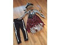 Girls zombie pirate costume (7-8)