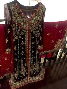 2016 Red and Purple Pakistani Wedding Dress