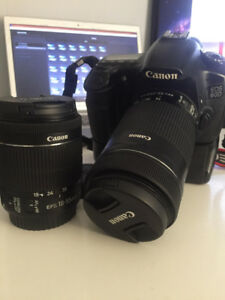 Canon 60D 18-55mm and 55-250mm + bag