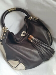 Brown Leather GUCCI Handbag -authenticity card and receipt