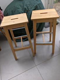 Two IKEA Bosse kitchen breakfast bar stools