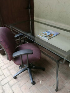 glass desk with chair