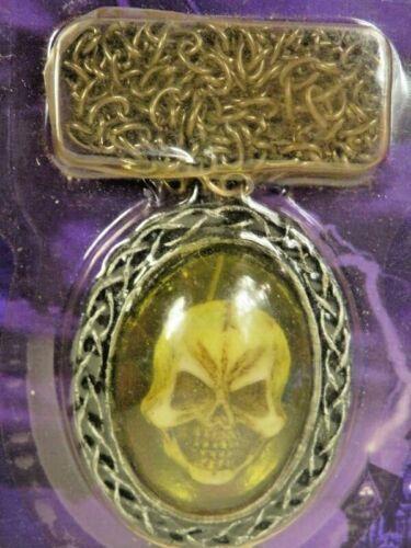 Nos Vintage Deadstock Halloween Goth Costume Necklace Skeleton Skull Chain Face