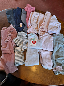 Tiny baby to 0-3 months pink/grey baby clothes
