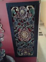 """BALENESE- WOODEN CARVED HANDPAINTED WALL ART- 26"""" H X 11"""" W"""
