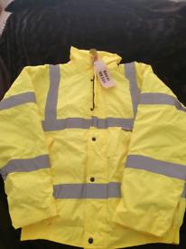 Mens Warrior Memphis Hi-Vis Bomber Jacket WaterproofWork Wear Visibility Viz