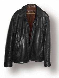 Veste de cuir noir de marque Columbia