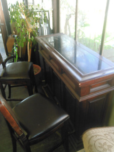 Solid wood bar with two chairs
