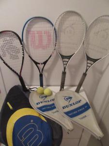 3 raquettes de tennis et 1 raquette de squash 10$ chacune