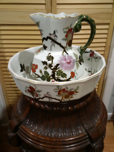 Large Vintage Oriental Look Pitcher/Bowl Set