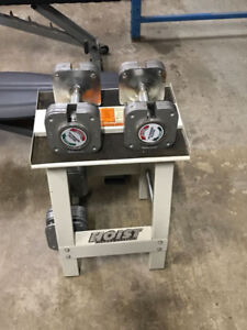 Adjustable Dumbbell 45LBS each with stand 1