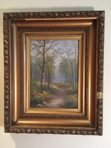 "Vintage Gold Gilt Framed Oil Painting ""Forest Path"" 18"" x 23"""