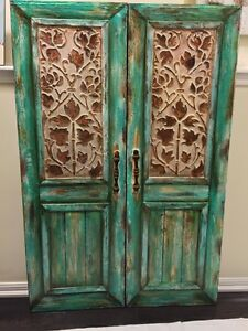 Rustic Turquoise Faux Two Door Paintings / Wall Art