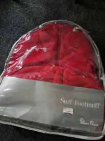 SILVER CROSS SURF FOOTMUFF, RED, NEW, PUSHCHAIR COSYTOES,