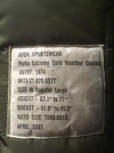 Extreme Cold Weather Combat Winter Parka Coat Size Large London Ontario image 4