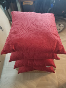 4 RED SILK STYLE PILLOWS 12 INCHES SQUARE