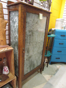 ANTIQUE OAK CABINET WITH FROSTED GLASS