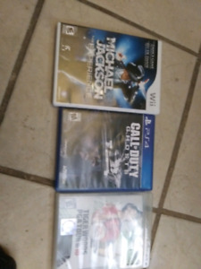 1 wii game and 1 ps4 game and 1 ps3 game