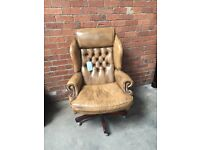 Light Brown / Beige Chesterfield Leather Office / Directors Swivel Chair - UK Delivery