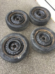 Set of 4 winter tires on rims $100 OBO