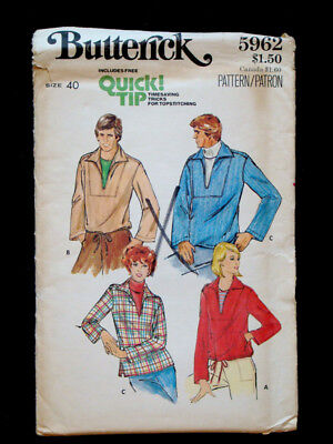 1960's Vintage BUTTERICK #5962 UNISEX Pullover Top MENS WOMENS Fashion pattern