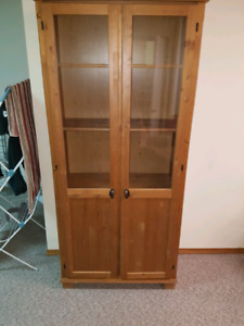 Wood display cabinet with glass face windows