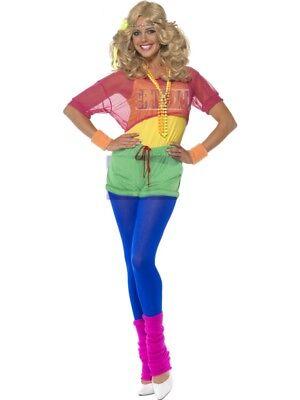 80er Jahre Kostüm Nena Kleid Aerobic Popstar Stirnband Damen (Aerobic 80er Jahre Kostüm)
