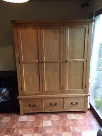 Large solid oak wardrobe