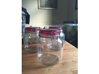 Set of 3 pink storage jars