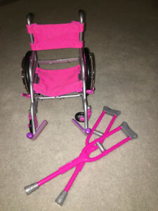 wheel chair and crutches made for american girl dolls