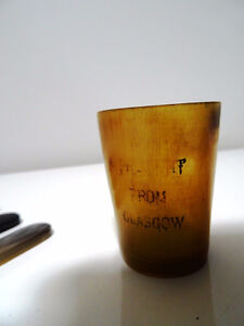 old GLASGOW carved horn TUMBLER BEAKER 4 spoons TEA CADDY SCOOP Oakville / Halton Region Toronto (GTA) image 3