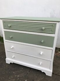 Unique hand painted, Solid wood chest of drawers