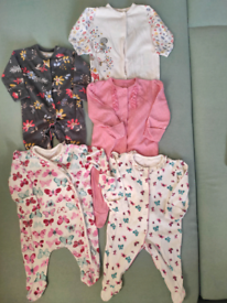 Sleepsuits - five and two H&M hats + Sweater for girl - newborn size.