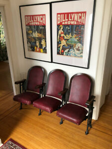 Vintage Movie Theater Chairs $350 for set of three!