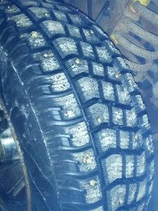 235/75/15 LT tires winter studded 10 hours on them.
