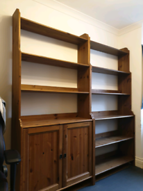 2 ikea stained wood matching bookcases
