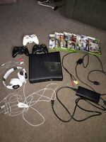 Xbox 360 with games and headset