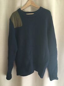 Tommy Hilfiger Navy Blue Thick Knitted Jumper, XXL, Suede Patch Detail, RRP £150
