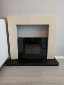 Fire surround with electronic fire place wall mounted